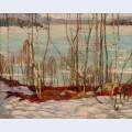 Frozen lake early spring algonquin park