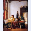 Merchant at a table near window