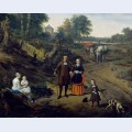 Portrait of a couple with two children and a nursemaid in a landscape detail