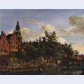View of oudezijds voorburgwal with the oude kerk in amsterdam