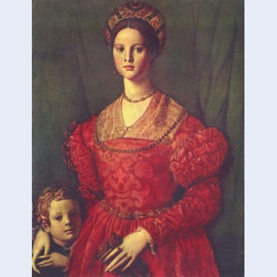 Portrait of young woman with her son