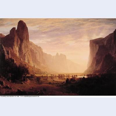 Looking down yosemite valley california 1865