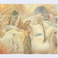 Pilgrims in the snow