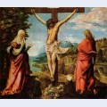 Crucifixion scene christ on the cross with mary and john