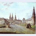 View of moscow near the iversky gate of the kremlin
