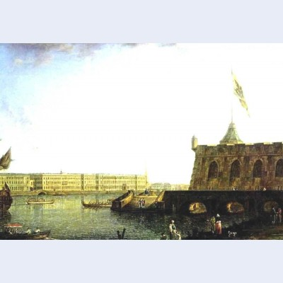View of the fortress of st peter and paul and the palace embankmant