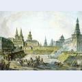 View of voskresenskiye resurrection gates of kitay gorod nikolskye gate of kremlin and neglinny