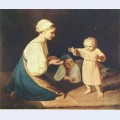 First steps peasant woman with child