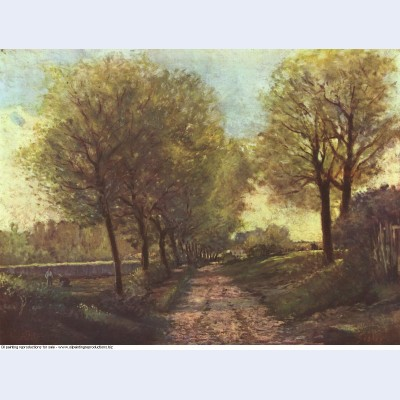 Avenue of trees in a small town 1866