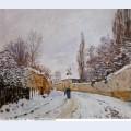 Road under snow louveciennes