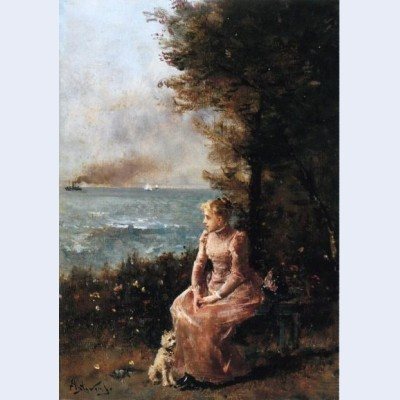 A young girl seated by a tree