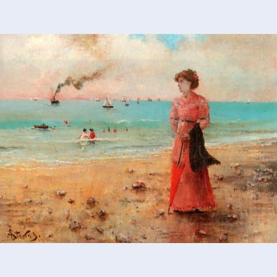Young woman with the red umbrella by the sea