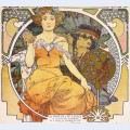 Art nouveau color lithograph poster showing a seated woman clasping the hand of a native