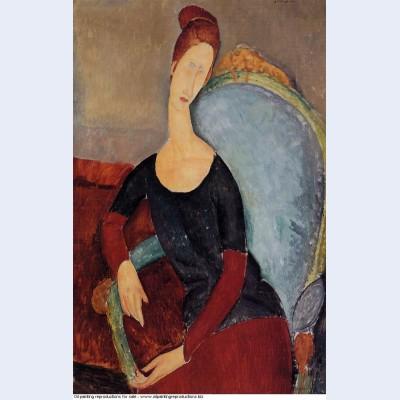 Portrait of jeanne hebuterne in a blue chair 1918