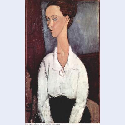 Portrait of lunia czechowska in white blouse 1917