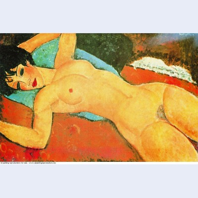 Reclining nude on a blue cushion red nude