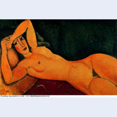 Reclining nude with left arm resting on forehead 1917
