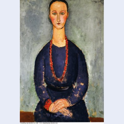 Woman with a red necklace 1918