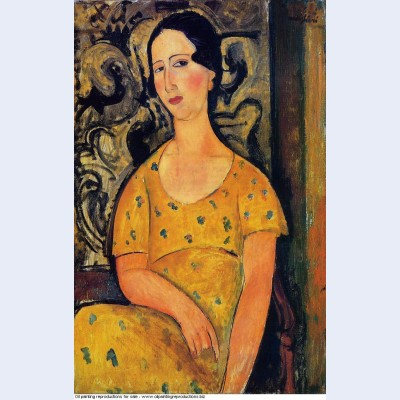 Young woman in a yellow dress madame modot 1918