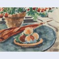 Still life with peaches and umbrella