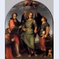 Archangel raphael with tobias st lawrence and the donor leonardo di lorenzo morelli