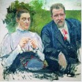 Portrait of i f tyumenev with his wife