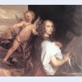 Portrait of a girl as erminia accompanied by cupid