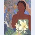 Polynesian woman and tiki