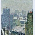 The roofs of paris in the snow