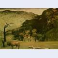 Landscape with oxen