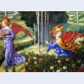 Angel gathering flowers in a heavenly landscape detail