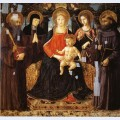 Madonna and child enthroned among st benedict st scholastica st ursula and st john gualberto