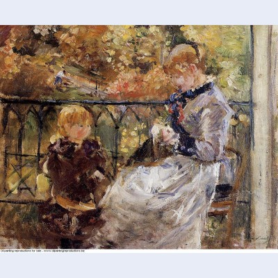 On the balcony of eugene manet s room at bougival
