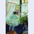 At the window portrait of i b kustodieva