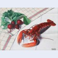 Still life with lobster and radishes