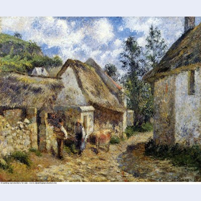 A street in auvers thatched cottage and cow 1880