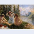 Bathers seated on the banks of a river 1901