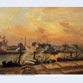 Boats sunset rouen 1898