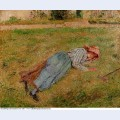 Resting peasant girl lying on the grass pontoise 1882
