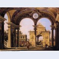 Capriccio of a renaissance triumphal arch seen from the portico of a palace 1755