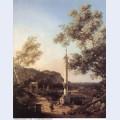 Capriccio river landscape with a column