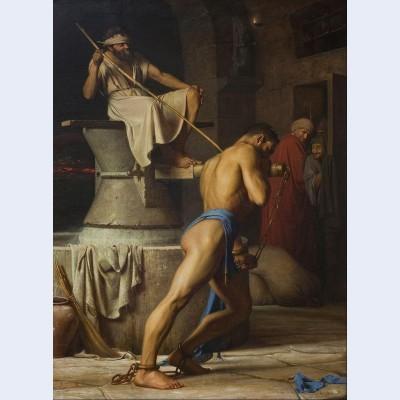 Samson and the philistines samson in the threadmill