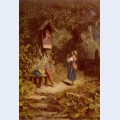 Praying peasant girl in the woods