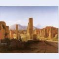 The forum pompeii with vesuvius in the distance