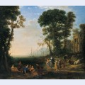 Coast scene with europa and the bull oil on canvas painting by claude lorrain