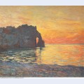 Etretat cliff of d aval sunset