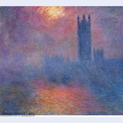 Houses of parliament london sun breaking through