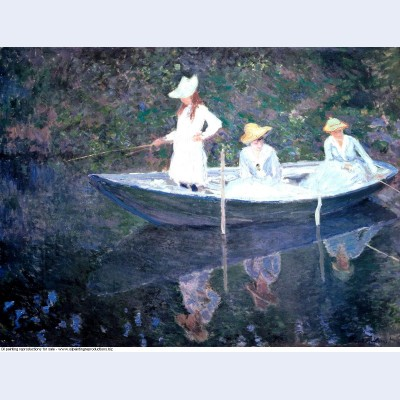 In the norvegienne boat at giverny