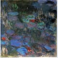 Water lilies reflections of weeping willows right half 1919