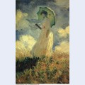 Woman with a parasol also known as study of a figure outdoors facing left